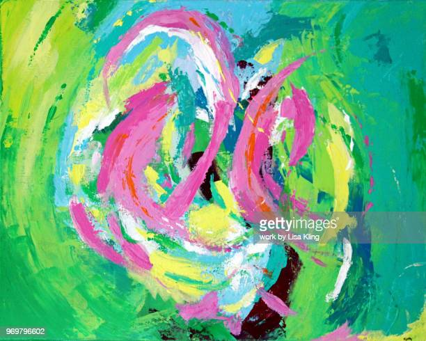 abstract art: wild flamingos at heart - flamingo heart stock pictures, royalty-free photos & images