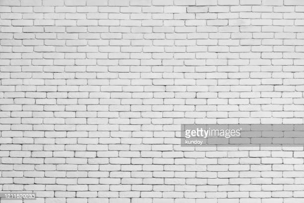 abstract background from white brick pattern wall. brickwork texture surface for vintage backdrop. - ladrillo fotografías e imágenes de stock