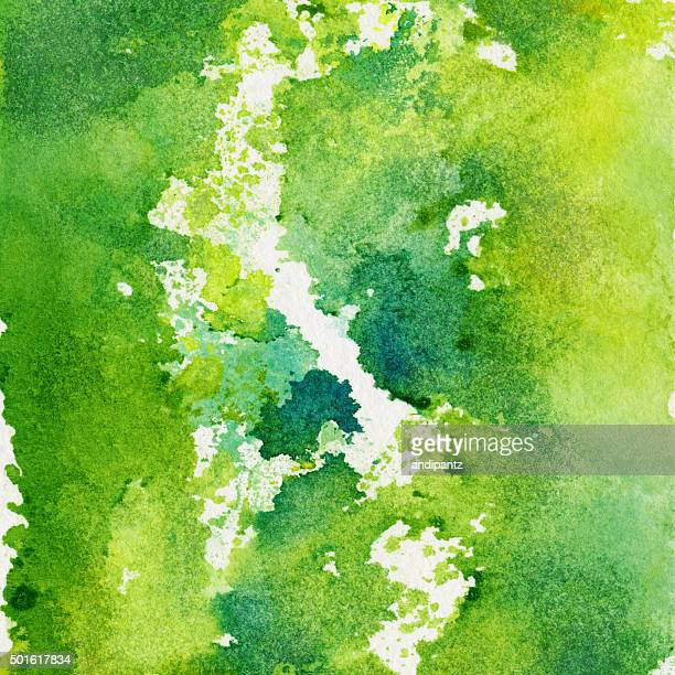 Abstract background hand painted with bright green hues