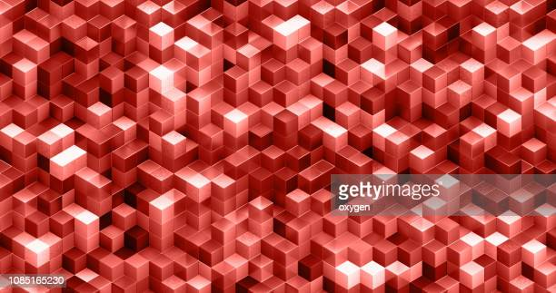 abstract background of living coral color cubes - two dimensional shape stock pictures, royalty-free photos & images