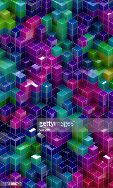 abstract background of multi-colored cubes - hd format stock pictures, royalty-free photos & images