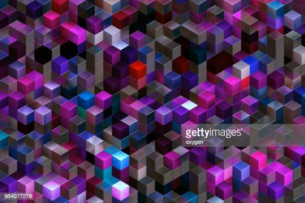 abstract background of multi-colored cubes - 部分 ストックフォトと画像