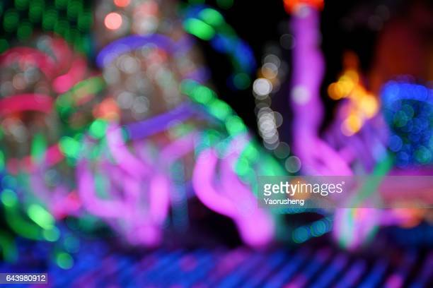 abstract background of neon lights bokeh