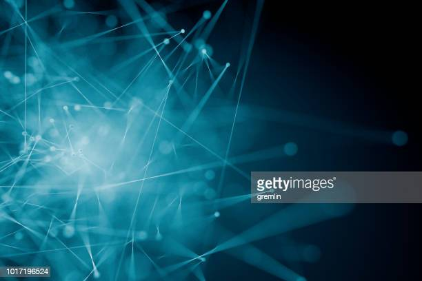 abstract background of spheres and lines - tecnologia imagens e fotografias de stock