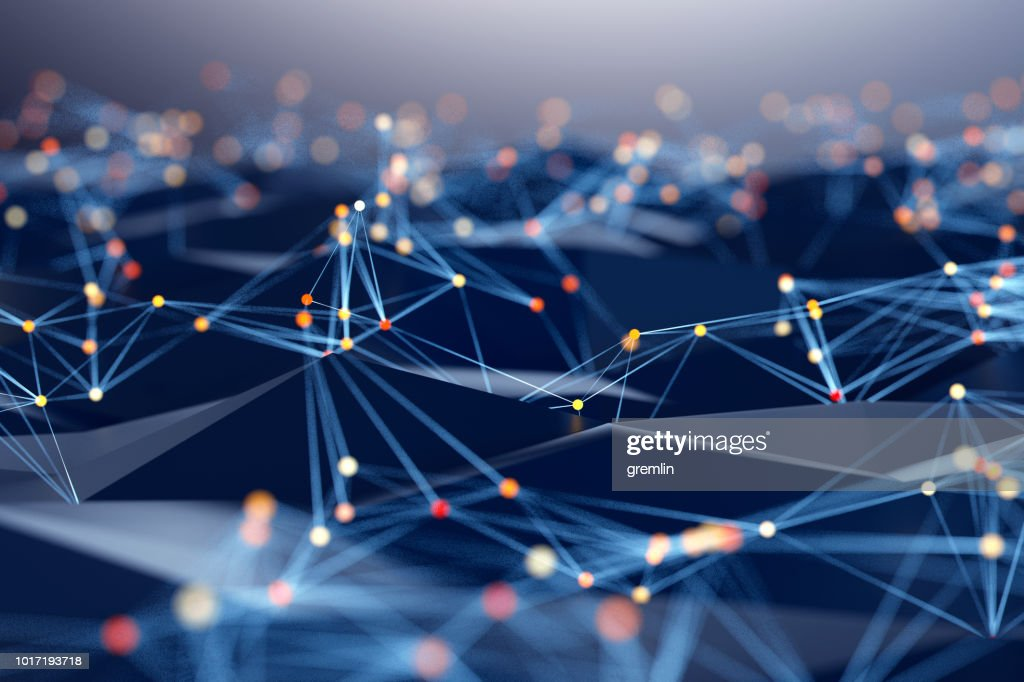 Abstract background of spheres and wire-frame landscape : Stock Photo