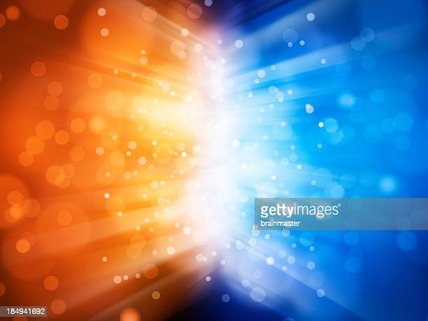 Abstract background with blue and orange sparks