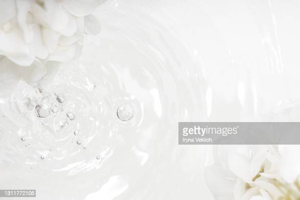 abstract background with white hydrangea flower and pure water or face serum with oxygen aqua bubbles and waves on pastel beige gray color. - rippled stock pictures, royalty-free photos & images