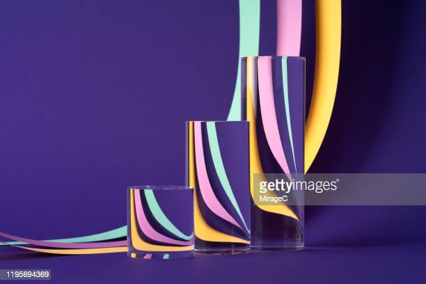 abstract bar-line graph cylinder prism refraction - visual china group stock pictures, royalty-free photos & images