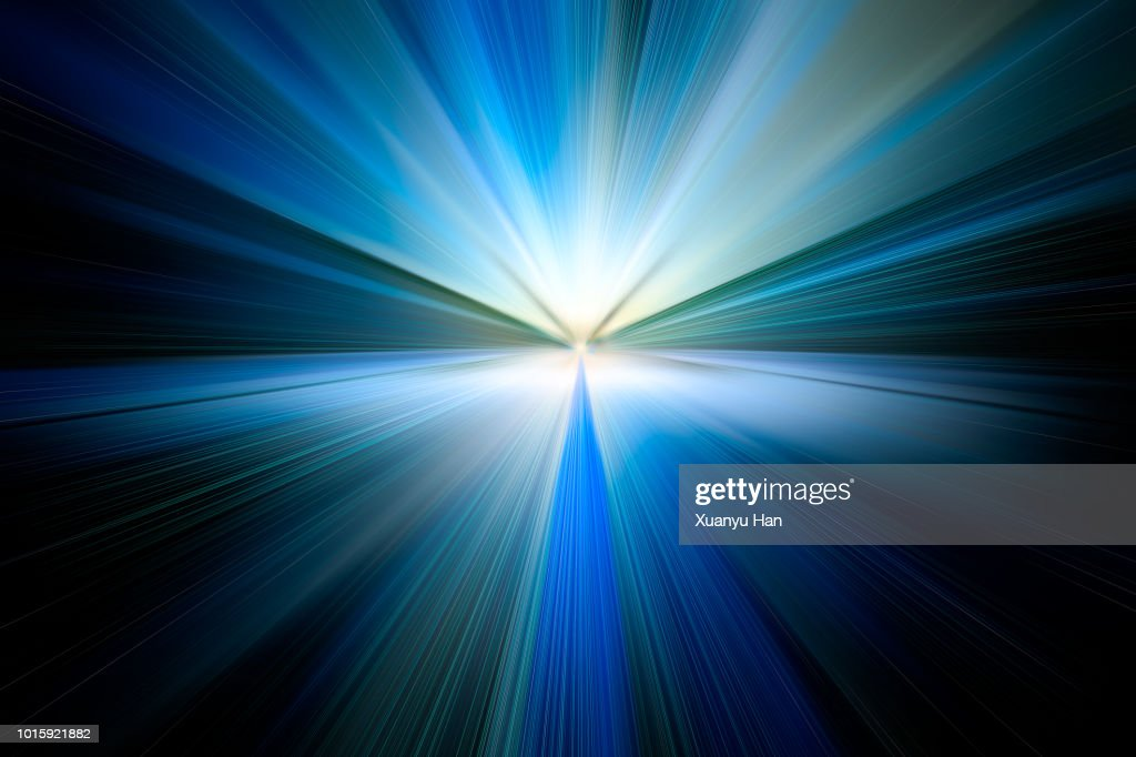 Abstract Big Data, Fiber Optic Light Painting on Black Background. : Stock Photo