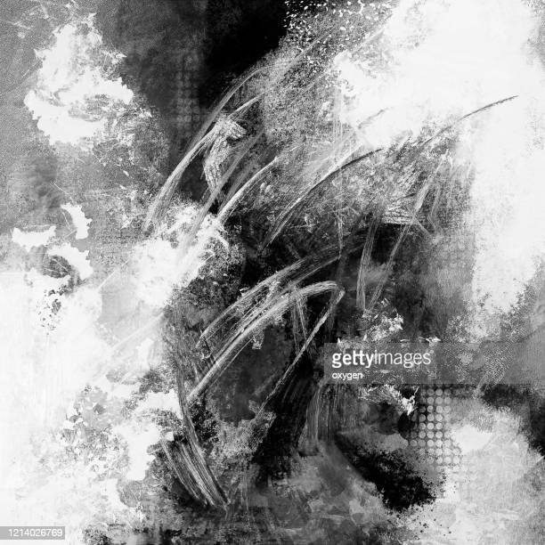 abstract black and white grunge textured background - quadrato composizione foto e immagini stock