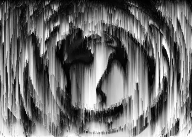 Abstract Black & White Circle Shape Distorted Noise Glitch Damage Background