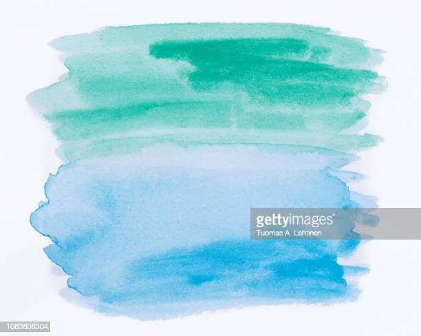 abstract blue and green watercolor background - wasserfarbe stock-fotos und bilder