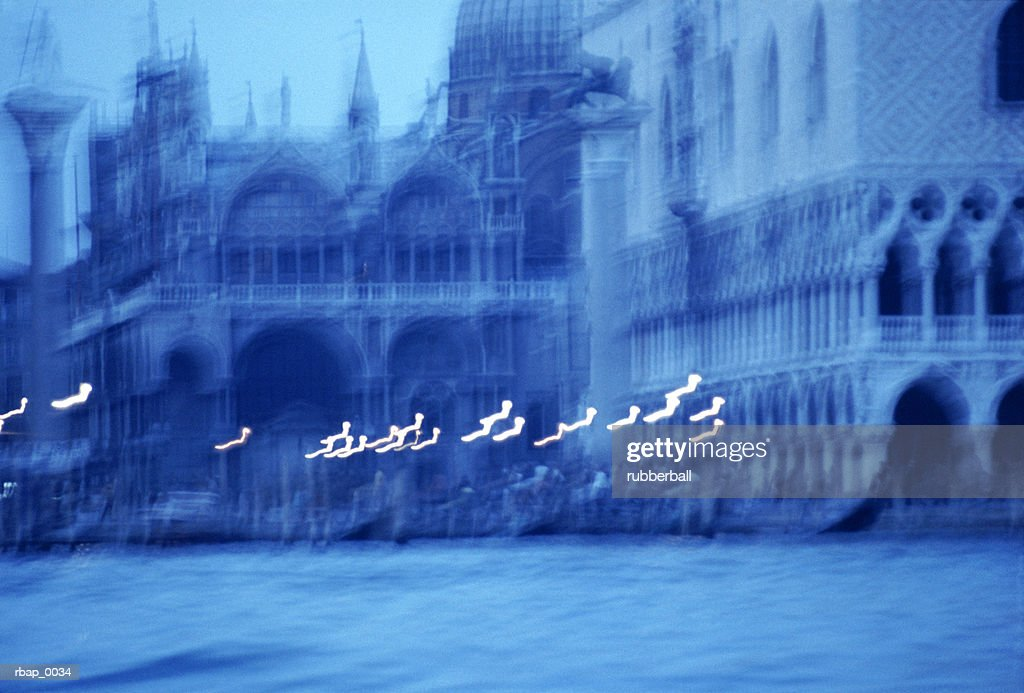 abstract blue blurred photo of european architecture : Stockfoto