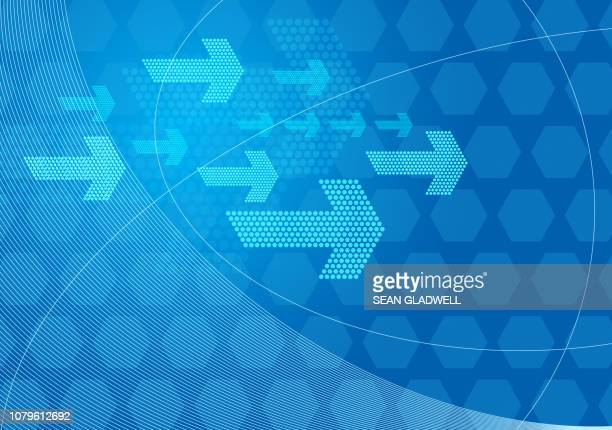 abstract blue graphic arrows background - curved arrows stock photos and pictures