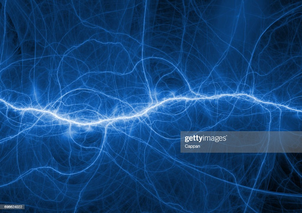 Abstract Blue Lightning Electrical Plasma Background Stock