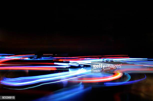 abstract blue red horizontal lights traffic motion blur - light trail stock pictures, royalty-free photos & images