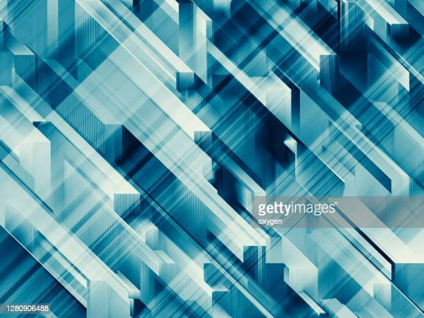 abstract blue triangle geometric diagonal modern shapes speed motion glitch textured background - strip stock pictures, royalty-free photos & images