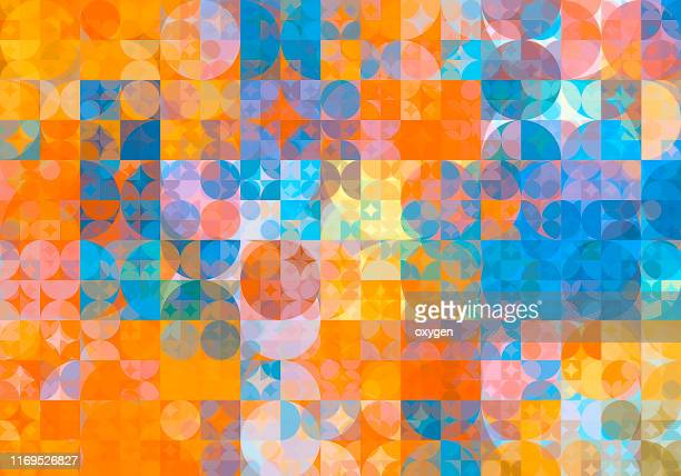 abstract blue yellow geometric circle and square shapes background - image stock pictures, royalty-free photos & images