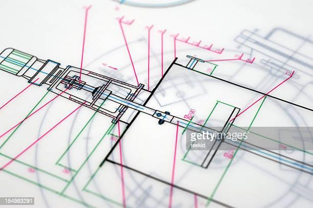 abstrakte vorlage der ausarbeitung-technische zeichnung papierkram computerausdruck - technische zeichnung stock-fotos und bilder
