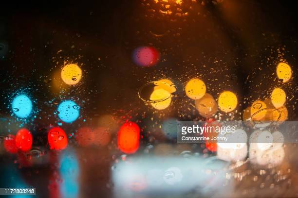 abstract blurred background of traffic jam on heavy rain - saturated colour stock pictures, royalty-free photos & images