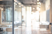 Abstract blurred office interior room. blurry working space with defocused effect. use for background or backdrop in business concept
