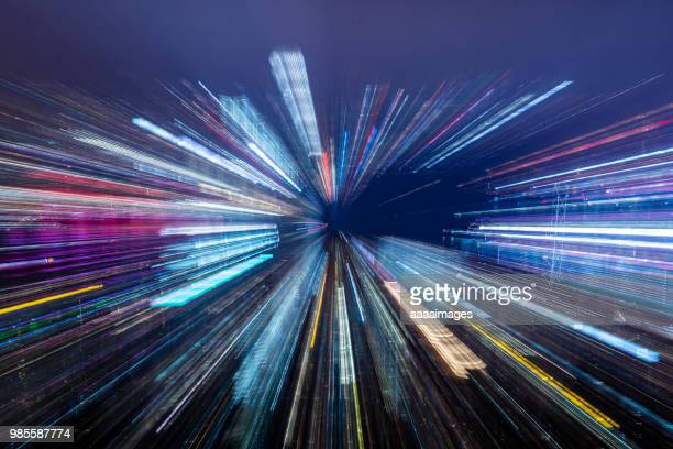abstract blurred view of victoria harbor skyline - zoom effect stock pictures, royalty-free photos & images