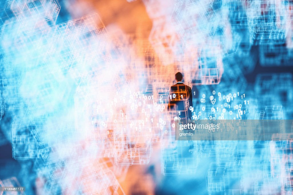 Abstract businessman in VR environment : Stock Photo