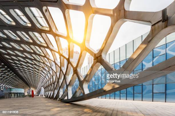 abstract ceiling of modern architecture - architecture stock pictures, royalty-free photos & images