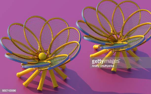 abstract circular figures made from tennis rackets - equipamento esportivo - fotografias e filmes do acervo