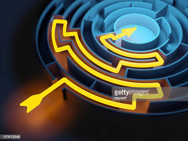 Abstract Circular Maze with Glowing Solution Path