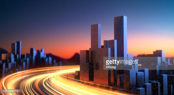 abstract city with glowing light streaks - data stream, power supply, dusk, dawn, long exposure - smart stock pictures, royalty-free photos & images