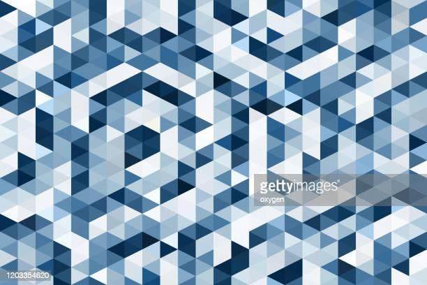 abstract classic blue geometric triangle background - triangle shape stock pictures, royalty-free photos & images