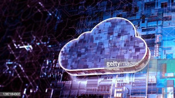concetto di tecnologia di cloud computing astratto - cloud computing foto e immagini stock