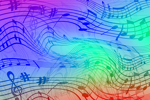 Abstract colored background on the theme of music. Background of wavy and colored stripes. Background of stylized musical notes 1095008928