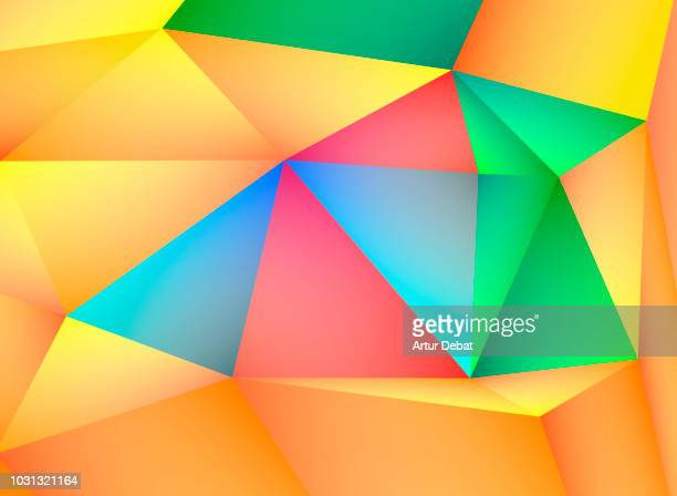 abstract colorful and geometric shapes. - stereoscopic images stock photos and pictures