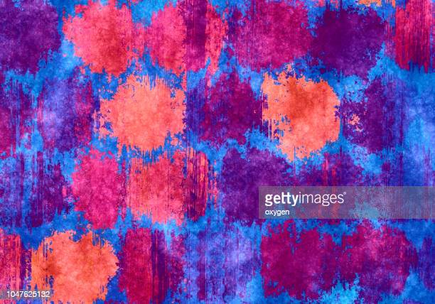Abstract colorful pattern with hand painted polka dots