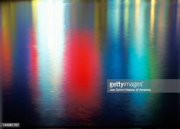 Abstract colorful reflections on water