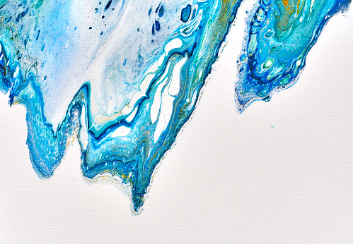 Abstract colourful background texture fluid art acrylic paints. Blue waves over white - gettyimageskorea