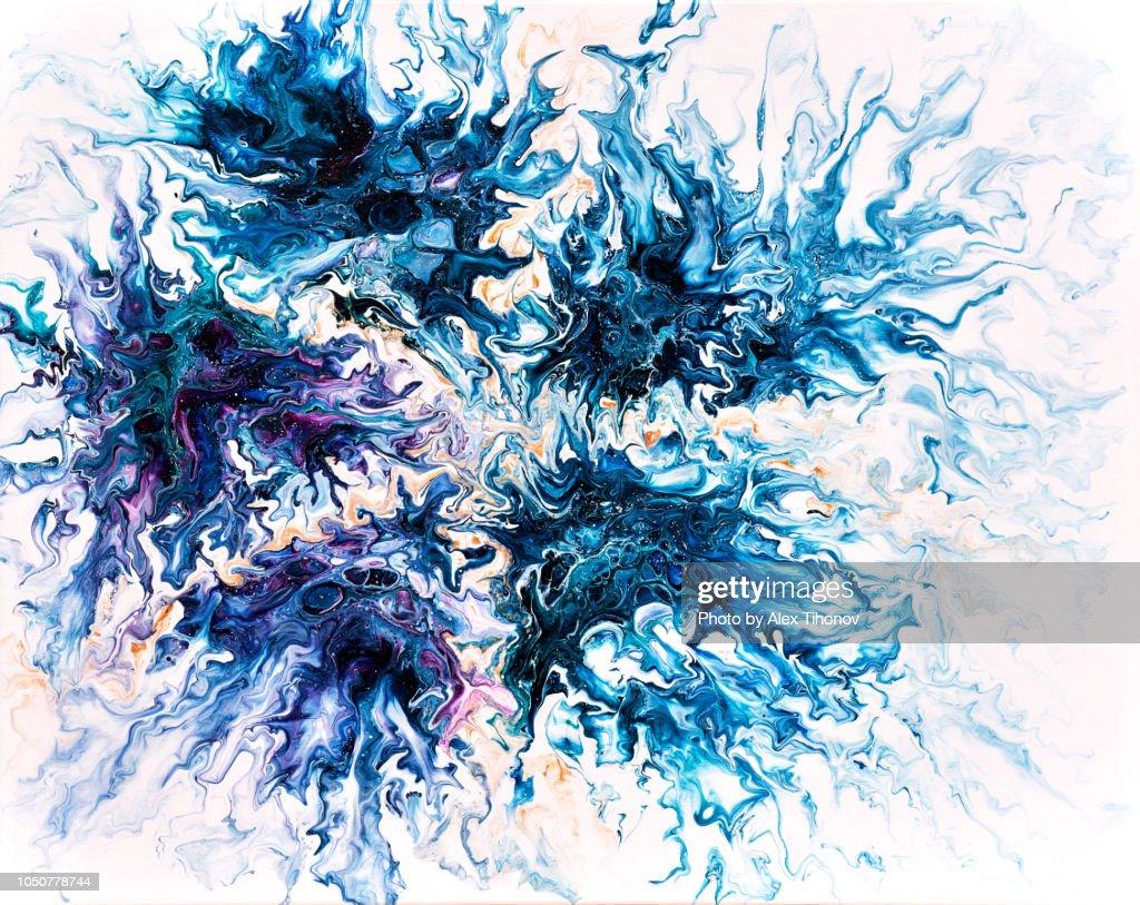 Abstract Colourful Background Texture Fluid Art Acrylic