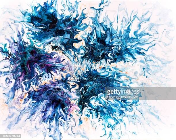 Abstract colourful background texture fluid art acrylic paints. Blue dark blue colours over white