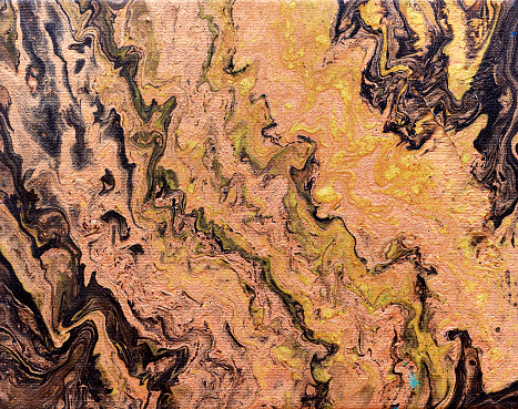 Abstract colourful background texture fluid art acrylic paints. Brown golden black and green colours - gettyimageskorea