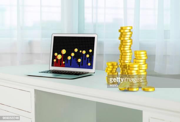 Concept abstrait de bitcoin et économie