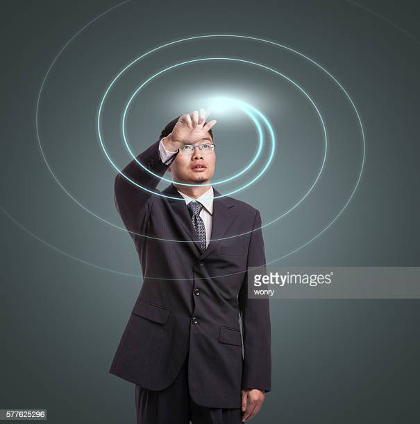 Abstract concept of Businessman using VR