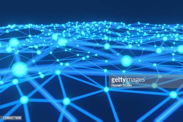 abstract connection dots. technology background. digital drawing blue theme. network concept. wireless technology concept - physical structure stock pictures, royalty-free photos & images