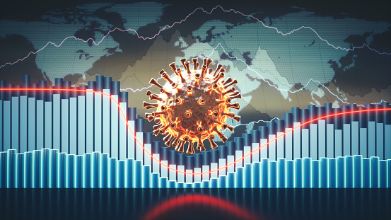 Abstract coronavirus economic infographics 3D concept with charts, graphs and world map in the background and a virus cell in the centre 1219125996