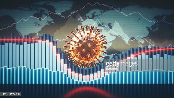 abstract coronavirus economic infographics 3d concept with charts, graphs and world map in the background and a virus cell in the centre - corona virus stock pictures, royalty-free photos & images