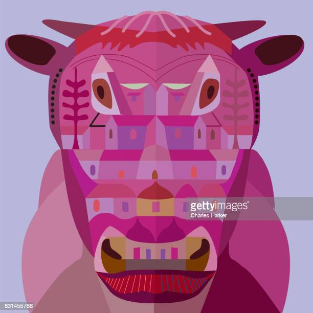 abstract cow from frontal head view - bull animal stock photos and pictures