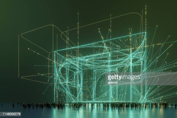 abstract crowd in futuristic street - outline stock pictures, royalty-free photos & images
