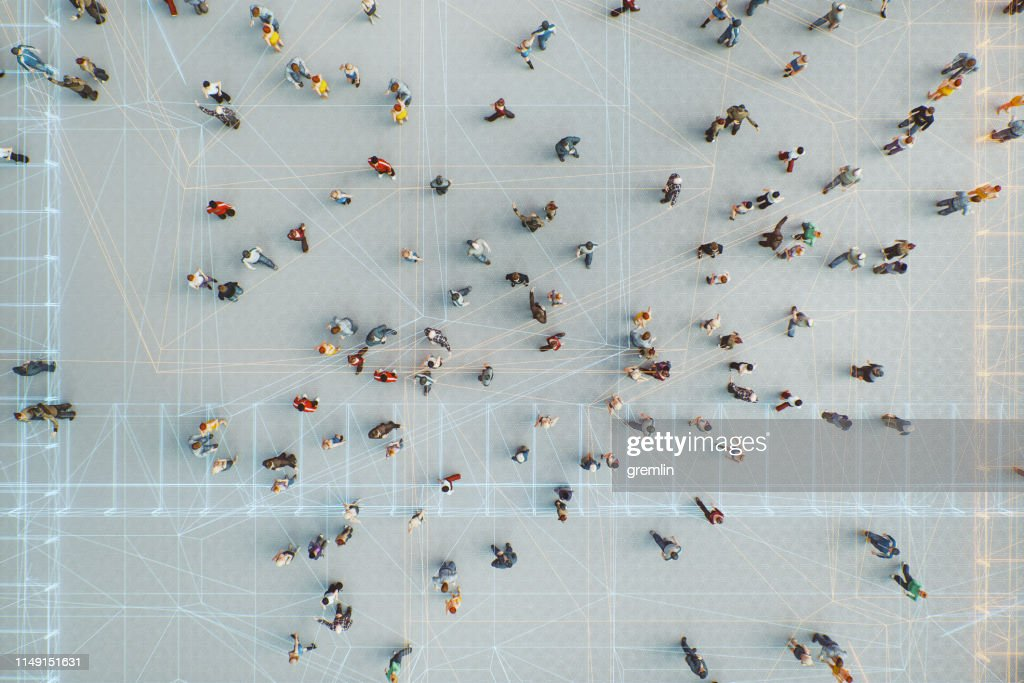 Abstract crowds of people with virtual reality street display : Foto stock
