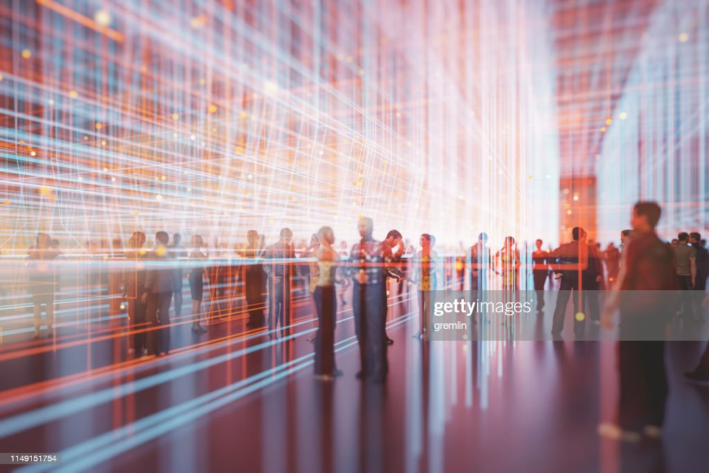 Abstract crowds of people with virtual reality street display : Stock Photo